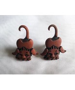 Stretching Dog Button Stud Earrings Brown Handmade Acrylic - $2.45