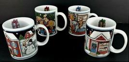 Susan Winget Christmas Mug Lot 4 Certified International Holiday Set Cof... - $25.19