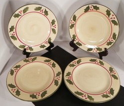 Home VICTORIAN HOLLY Christmas Dinner Plate (s) LOT OF 4 Dinnerware Red ... - $34.60