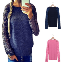 Cute Floral Lace Sleeve Embroidered Sweater - $21.98