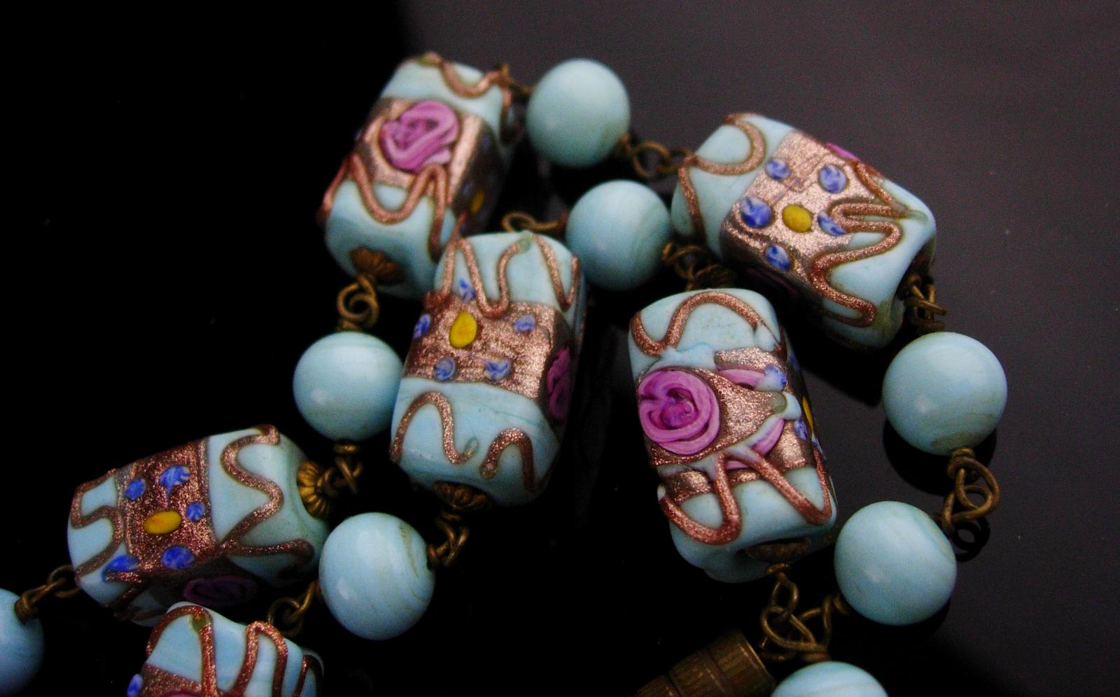 Vintage Venetian Necklace - baby blue murano Glass - wedding cake choker - Itali