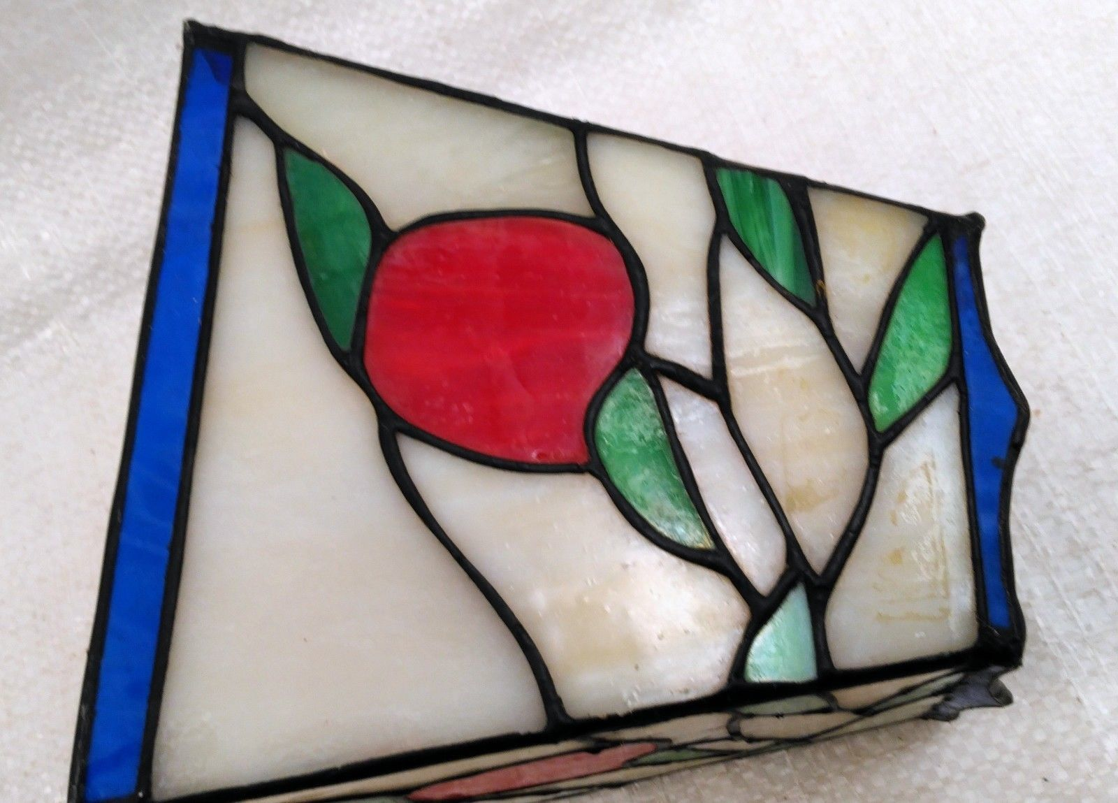 """Small 6"""" Stained Glass Lampshade White, Red, Green, & Blue"""