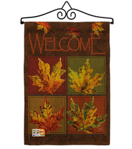 Fall Leaves Collage Burlap - Impressions Decorative Metal Wall Hanger Ga... - $33.97