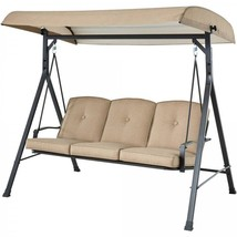 3 Person Swing Cushioned Patio Porch Canopy Bench Tan Metal Garden Furni... - $248.93