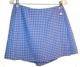 Sz 11 - I.N. Blue & White Plaid Short Skort Skirt - $24.24