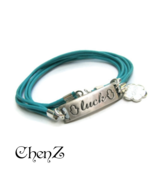 Turquoise Leather Wrap Bracelet Silver Good Luck Hamsa Friendship Gift f... - $19.90