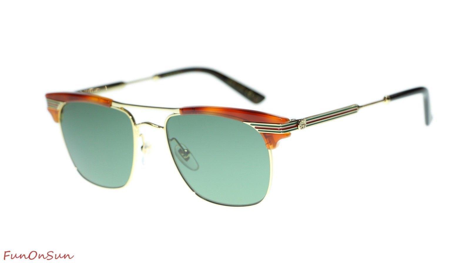 0f69de7245d11 10. 10. Previous. Gucci Men Sunglasses GG0287S 004 Havana Gold Green Lens  Square 52mm Authentic