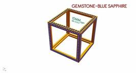 3D Cube Blue Sapphire Gemstone Pendant 18k Yellow Gold Pendant Fine Jewe... - $833.50