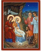 """Adoration of the Shepherds Icon Wooden Plaques With Lumina Gold 11"""" x 14"""" - $76.95"""
