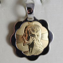 18K YELLOW WHITE GOLD FLOWER MEDAL JESUS CHRIST FACE ENGRAVABLE MADE IN ITALY image 2
