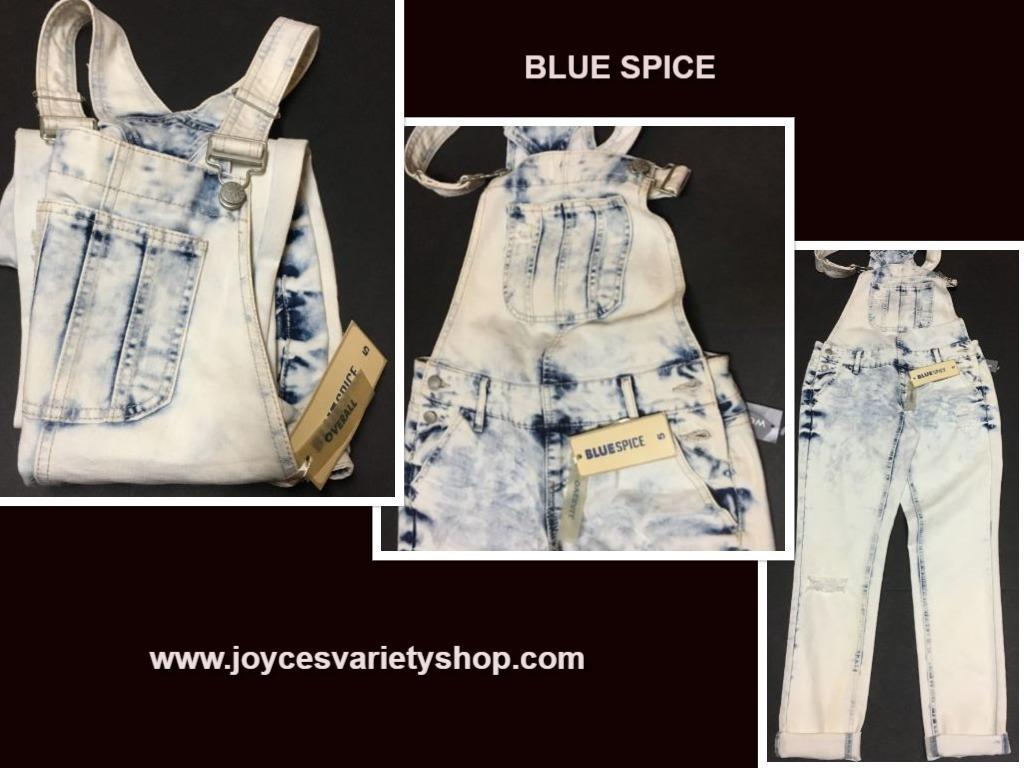 Blue spice overalls web collage