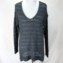 Ann Taylor Sweater Womens Sz L Gray Open Weave V Neck Pullover Long Sleeve - $20.99