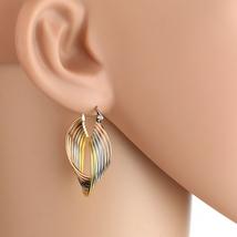 Twisted Tri-Color Silver, Gold & Rose Tone Hoop Earrings- United Elegance - $16.99
