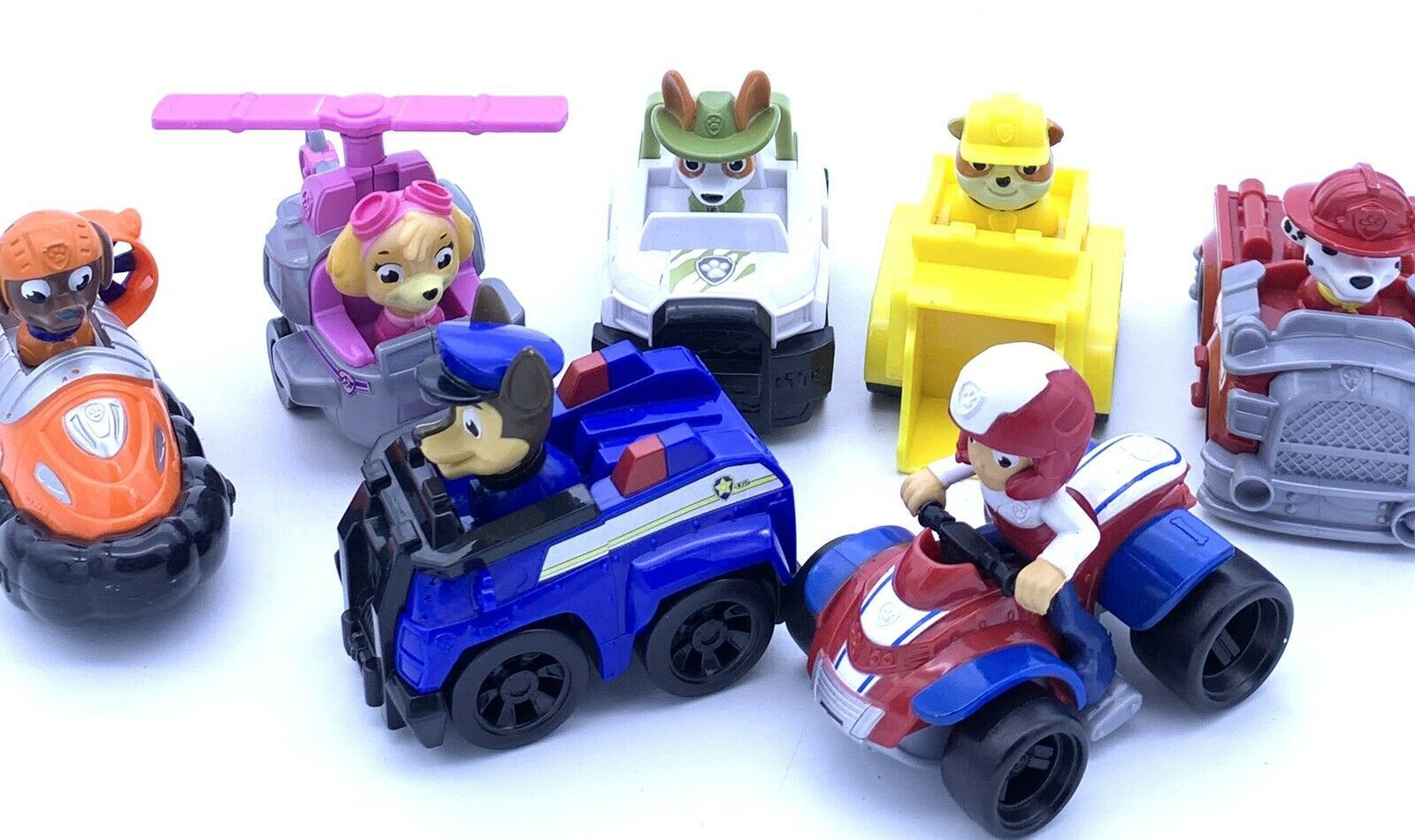 Lot of 7 ~ Paw Patrol ~ Racers  plastic vehicles some RARE. - $27.71