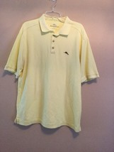 Used Mens Tommy Bahama Polo Golf Short Sleeve Yellow Collared Shirt Cotton Xl - $26.03