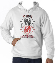 Socrates Wonder Quote - New Cotton White Hoodie - $38.05