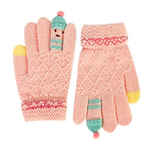 Cute Cartoon Gloves for Kids / Knitted Woolen Gloves /Student Winter Gloves/PINK