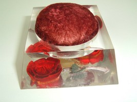 Pin Cushion Bircraft Hand Carved Hand Colored Red Roses Clear Lucite Sha... - $10.89