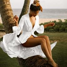 Women's Solid Tunic Style Button Down Long Lantern Sleeve Cotton Beach Dress image 3