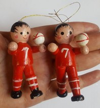 2 Vintage Christmas Xmas tree holiday season ORNAMENTS • boys with ball & # 7 - $14.85