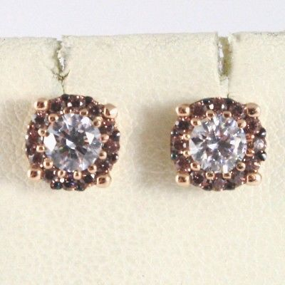 GOLD EARRINGS PINK 18K, FLOWER, SUN WITH ZIRCON CUBIC, MADE IN ITALY, 750