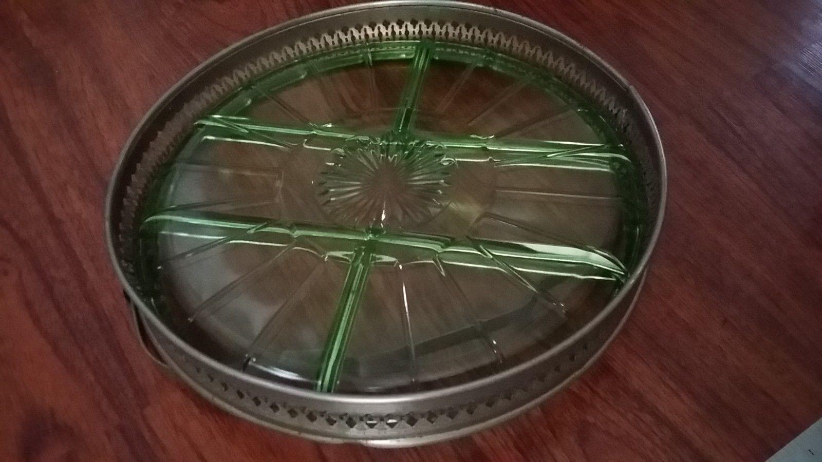 Uranium or Vaseline glass server Huge green glows in blacklight basket handle