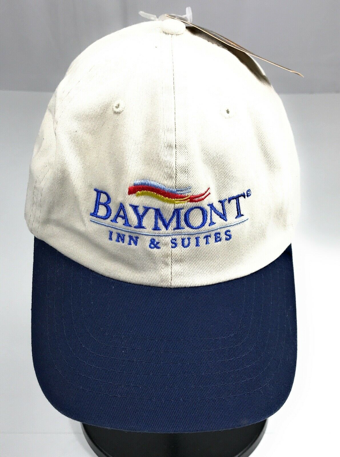 NWT Baymont Inn Suites Strapback Adjustable Cotton Khaki Navy Baseball Cap Hat