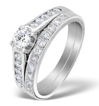 White CZ Round Cut 18k White Gold Fn 925 Fashion Engagement & Wedding Ring Set - $70.94