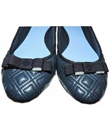 Tory Burch Marion Quilted Ballet Flats Ballerina Bow Shoes Navy Blue 8.5 - $158.00