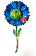 Vtg Signed Original by Robert Brooch Pin Enamel Blue Flower Ladybug Gold... - $49.99