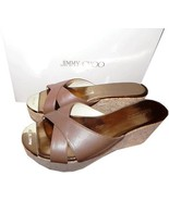 Jimmy Choo Prima Brown  Leather Cork Wedge Sandals Gold Toe 39 - Gold To... - $273.00