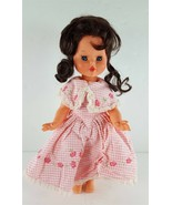 "FURGA 1101 14"" Brown Hair Vinyl Girl Doll Pink/White Dress - $14.85"