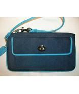 Coach Denim Canvas & Leather Wristlet Turnlock Pocket Navy Turquoise - $22.00