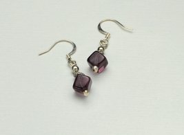 Plum Dangle Earrings Silver, hand wrapped drop glass cube, French hook, ... - $11.99