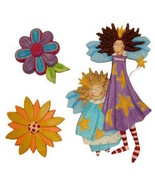 Whimsical Fairy Faries and Flowers Sculpted 3 Dimensional  Wall Art New - $9.99