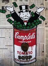 "Alec Monopoly Banksy OIL PAINTING ON CANVAS Urban art decor Campbell soup 24x36"" - $31.67"