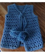 vintage crocheted girls vest hand crocheted-70's Size 3 or 4 girls-Blue - $11.30