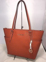MICHAEL KORS Jet Set Travel EW TZ Saffiano Leather Shoulder Tote - Orang... - $139.99