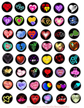 hearts love clipart digital collage sheet download 1 inch circles printa... - $2.50