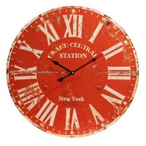 Provence Wall Clock Red 23D Round Gallery Distressed Wood Paris Farmhous... - $22.29