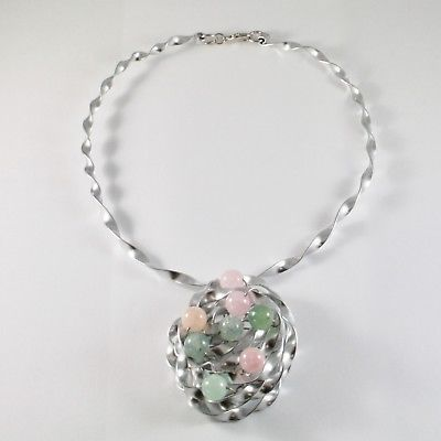 NECKLACE THE ALUMINIUM RIGID WITH CENTRAL WITH AQUAMARINE NATURAL MULTICOLOUR