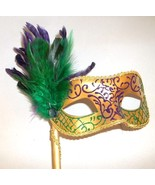 Gold Green Feather Stick Venetian Masquerade Mardi Gras Mask - $17.09