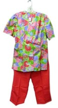 Scrub Set V Neck Bright Floral Pink Purple Green Top Pink Pants XS/S Med... - $17.43