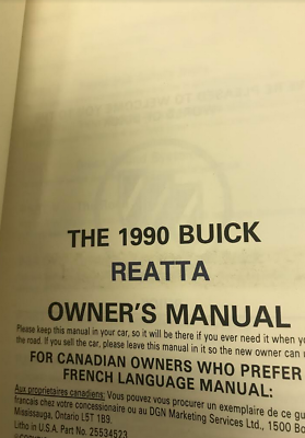 1990 GM Buick Reatta Betreiber Owner Owners Manuell Fabrik OEM image 2