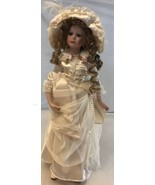 """Vintage Porcelain  And Cloth Felt Doll 17"""" With Stand - $9.90"""