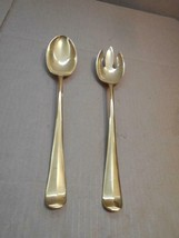 "VINTAGE GOLD 13"" SALAD SERVING SPOON AND FORK (Spork) SET ~ - $23.36"