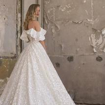Sweetheart A Line Applique Off The Shoulder Lace Up Sweep Train Bridal Gown image 2