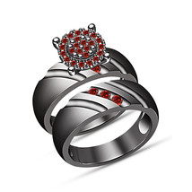 Round Cut Garnet 1.20CT Solitaire Bridal Set Engagement Ring 18K Black G... - $97.99