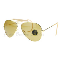 Glass Lens Vintage Designer Ear Wrap Aviator Sunglasses Gold Beige Brown - $9.85