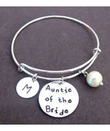 Auntie of the Bride Bracelet,Aunt of the Bride Bangle,Personalized Aunt ... - $17.00
